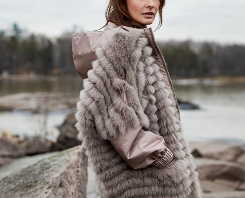 Fox fur coat, reversible