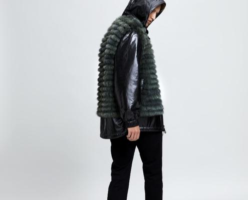 Men's fox fur coat, reversible